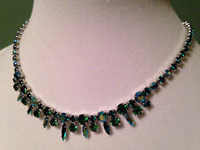 "Sherman Emerald Green Rhinestone 16"" Necklace Costume Jewelry"