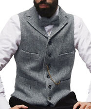 Men's Formal Notch Lapel Vest Herringbone Vest Waistcoat Groomsmen For Wedding