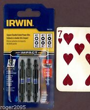 Irwin Impact Double-Ended Power Bits - Phillips #2 & Square Robinson #2 - New!