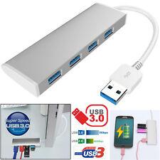 Aluminio 4 puertos USB 3.0 Hub 5 Gbps Alta Velocidad Súper Adaptador con Cable para PC Mac