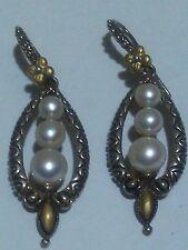 Sterling Silver Triple White Pearl Dangling Drop Earrings&18K Flowers by B.BIXBY