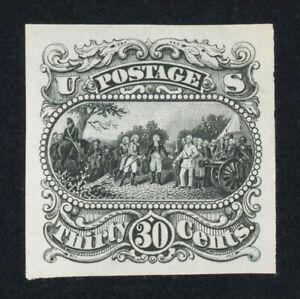 Scott #121-E1q, 30c Burgoyne essay in black on India, XF & sound, Scott $300
