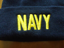 NEW Men's NAVY Tote Hat Beanie Blue with Yellow Embroided