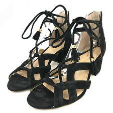 Michael Kors Mirabel Sandals UK 5 US 7M Black Suede Strappy Lace Up Heels 301572
