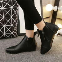 Vintage Women's Pointed Toe Flat Short Ankle Boots Solid Color Casual Shoes