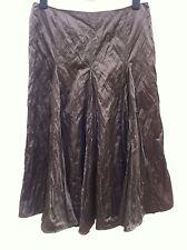 JOHN ROCHA Shimmery Satin Midi Godet Skirt Size 14 Chocolate WORN ONCE