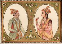 Emperor Jahangir Empress Nur Jahan Mughal Miniature Art Rare Historical Painting