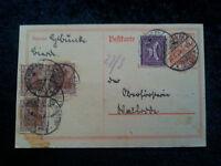 Deutsches Reich - Postkarte 1922  mit Freimarken: Germania
