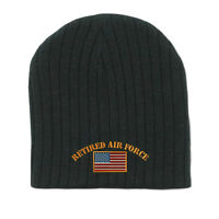RETIRED AIR FORCE MILITARY Embroidery Embroidered Beanie Skull Cap Hat