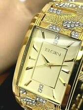 Elgin Men's Watch W/ Matching Bracelet Set Rectangular Gold Tone FG16001GTST