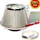 "3"" 76mm Inlet HIGH FLOW Short Ram Cold Air Intake Cone STAINLESS STEEL Filter V2"