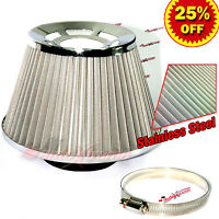 """3"""" 76mm Inlet HIGH FLOW Short Ram Cold Air Intake Cone STAINLESS STEEL Filter V2"""
