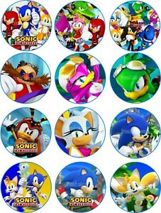 12 x 5cm Edible Sonic The Hedgehog *PRECUT* Icing Cupcake Toppers
