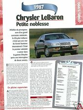 Chrysler LeBaron Coupe Cabriolet 4 Cyl. 1987 USA Car Auto Voiture FICHE FRANCE