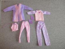Barbie Clothes Pajamas-Pink Lav-Robe-Cami-Sleep Pants-Slippers Lot FP4