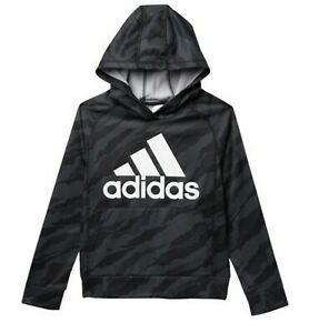NEW - ADIDAS Boys Camo Print Hooded Sweatshirt - Black : Size S - L
