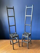 2 x Pottery Barn Black Iron Metal Chair Ornaments Candle / Picture Frame Holders