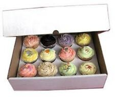 10 Mini Cupcake Box holds 12 each WHITE 9x9x2-1/2 Bakery Box and Inserts for 120