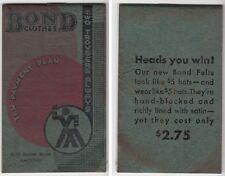 [35146] 1935 BOND CLOTHES (ASYLUM ST., HARTFORD, CT) NOTE BOOKLET & CALENDAR
