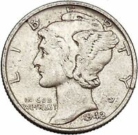 Mercury Winged Liberty Head 1942 Dime United States Silver Coin Fasces i43150