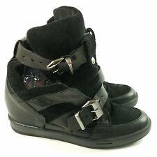 KG Kurt Geiger Womens Black Double Buckle Strap Sneakers 7/38 Hidden Heel $250