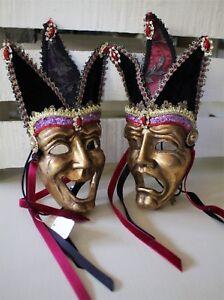 Katherine´S Collection Venice Mask Happy & Sad Gold 24cm x 13cm Halloween New