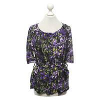 * NWT Escada purple and green flowers silk top sz 38 Medium $995