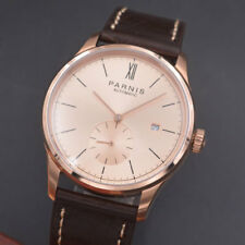 42mm Parnis Watch Rose Gold Case Calendar Mechanical Automatic Men Watch Seagull