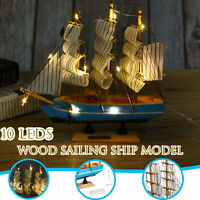 LED Light Wooden Craft Nautical Sailor Ship Sailing Boat Wood Sailboat Model New