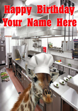 Giraffe j488 Chef Cook Fun Cute Personalised Happy Birthday card