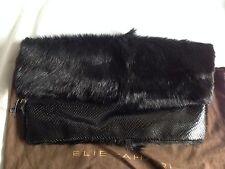Elie Tahari Savannah Black Fur and Leather Fold Over Clutch / bag / envelope