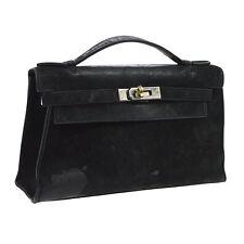 Auth HERMES POCHETTE KELLY Hand Bag Black Veau Velours Doblis Vintage TG00882