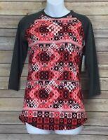 Lularoe Randy T Size XXS 2XS Women Pink Coral Black Gray Tee shirt Top Raglan
