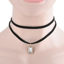 Vintage Hot Gothic BlackVelvet Square Crystal Charm Pendant Punk Choker Necklace