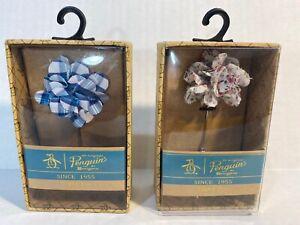 2x Penguin lapel pin Blue Plaid and White flower Accents Mens Suits. NIB RET $48