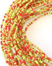 Vintage Strand Ghana Beads Red Green Amber mix Glass African Trade Beads-Ghana