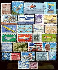 27 v e r s c h i e d e n e Briefmarken Motiv Flugzeuge/Hubschrauber, gestempelt