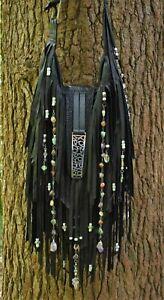 Fringe Purse Black Leather Handmade Embellished Art Bag By ShellB
