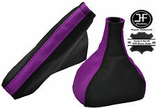 BLACK & PURPLE REAL LEATHER GEAR HANDBRAKE GAITER FITS VAUXHALL VECTRA B 95-2003