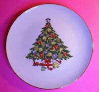 "LOT (4) JAMESTOWN CHINA CHRISTMAS TREASURE SALAD PLATES CHRISTMAS TREE 7 3/4"""