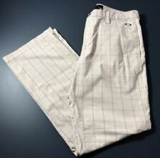 Oakley Mens Golf Swagger Pants Beige/Blue Plaid Sz 36/34 Great Condition