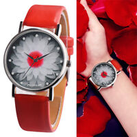 OKTIME Womens Fashion Analog Quartz  Watch Floral Case Crystal PU Band Watches