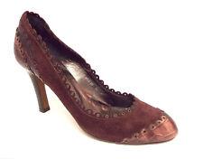 JIGSAW Burgundy Size 9 Suede & Alligator Print Heels Pumps Shoes