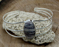 "Plated Jewelry Cuff Bracelet S-7-8"" Natural Poreclain Gemstone Handmade Silver"