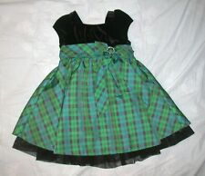 Jona Michelle Green Plaid Party Pageant Dress Girls Size 4T Black 4 Toddler