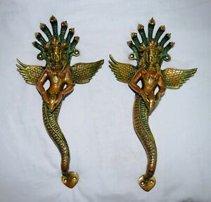 Pair Naag kanya Handle Handmade Brass Unique Mermaid Restaurant Door Handle ML22