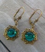 Emerald Earrings w/Prong and Leverback Victorian Vintage Style Handmade 9mm