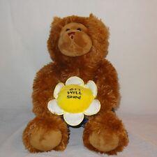 "Get Well Soon Teddy Bear Boxers Flower Plush Stuffed Animal 11"" Toy Brown"