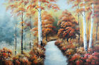 Forest Fall Leaf Colors Orange Yellow Path Large 36X24 Oil Painting STRETCHED