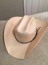 7a90b76c4a0aa BULLHIDE Justin Moore SIGNED Backwoods 50X Straw Cowboy Hat. Sz. 7 3 8